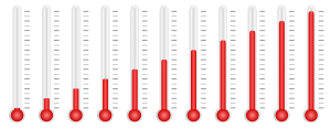 thermometers showing average temperatures to adjust to a new climate