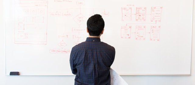 MAn standing in front of whiteboard