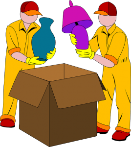 Movers packing items