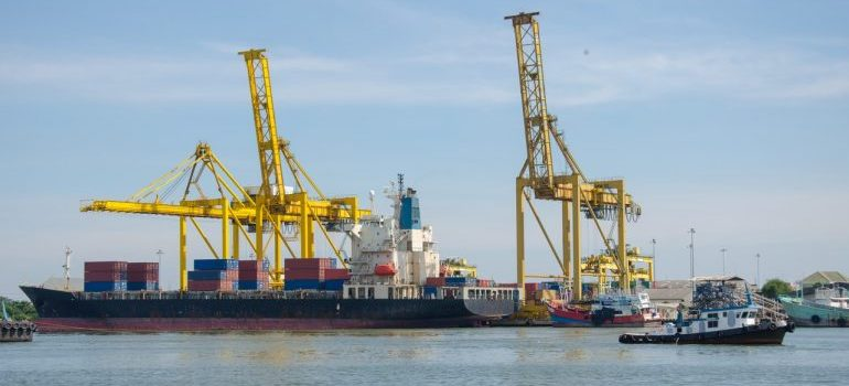 dock cranes and shipping containers