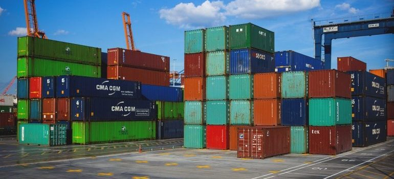 Containers ready to ship furniture internationally