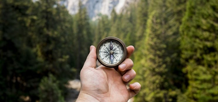Settling in a new country makes a man go around the country with a compass in his hand