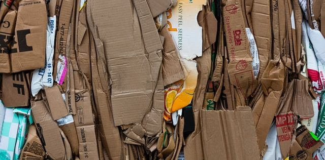 Cardboard stacked and ready for recycling