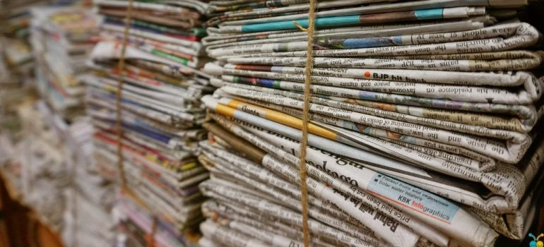 bulk of old newspapers