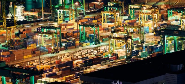 A port with lot of different types of containers