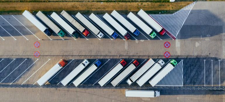Aerial view of company trucks