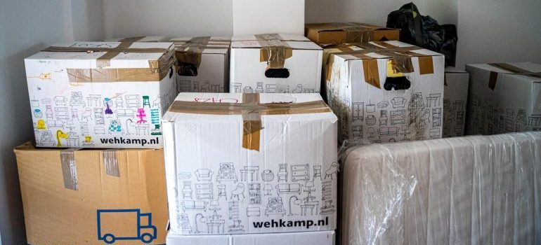 A room full of carton boxes