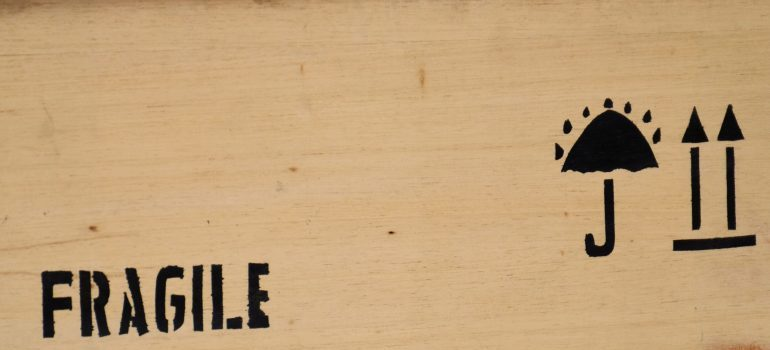 Fragile sign on crate